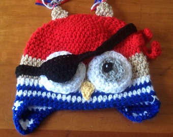 Ahoy!!! Arg!! crochet children/youth pirate owl hat