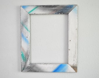 11x14  Graffti Frame, Chippy White Home Siding, Repurposed Wood, Green and Blue, Weathered and Distressed, one-of-a-kind