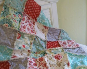 Crib Rag Quilt, Teal Aqua Blue Red Gray Roses Shabby Baby Quilt Baby Girl Crib Bedding Nursery Floral