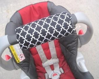 Car Seat ARM PAD Handle Cushion - Cute Black Quatrefoil Pattern, Diamonds