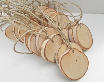 25 White Birch slices - Name tags - Gift tags - Holiday tags - Save the date - Wedding