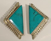 Signed ATACHI CALDERON Mexican STERLING Silver & Turquoise Clip-On Earrings Taxco SouthWestern .925 Mexico Clip