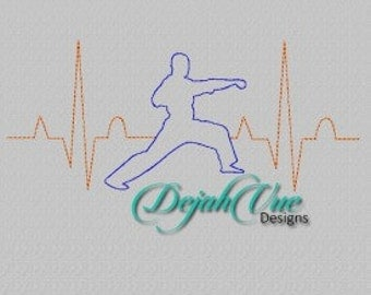 Karate EKG - Embroidery Design 4x4, 5x7, 6x10, and 7x12