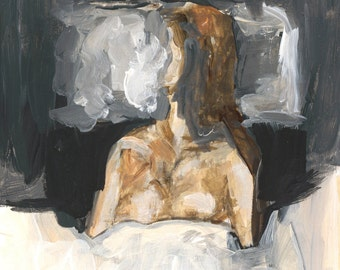 Sleeping Nude Art Print, Nude Painting, Nude Art, Giclee Art Print, Figure Painting
