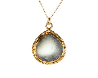 Druzy necklace - raw crystal necklace - drusy necklace - teardrop necklace - black crystal - a gold lined druzy on a 14k gold filled chain