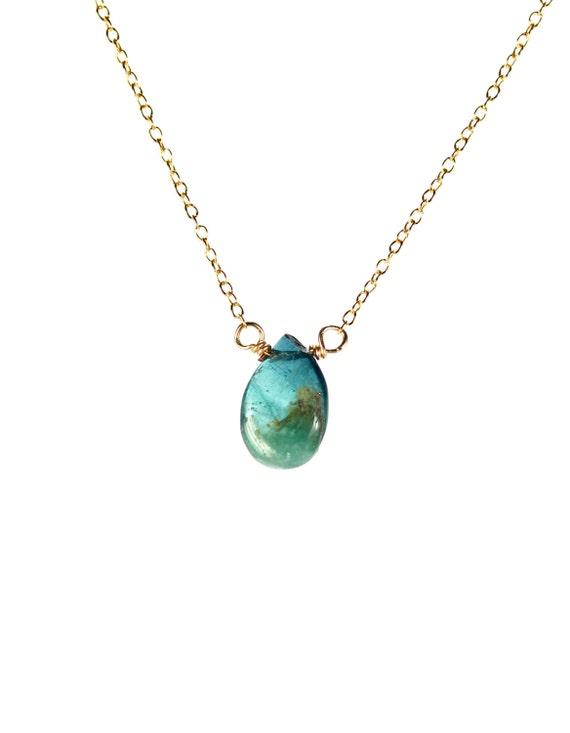Tourmaline necklace - watermelon tourmaline - crystal necklace - healing crystal - a tourmaline drop wire wrapped on 14k gold vermeil chain
