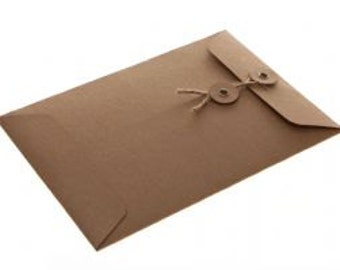 String Tie Envelopes - Brown Kraft x 10 ( C6 size)