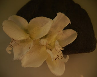double icy white orchid hair clip. Perfect for any occasion