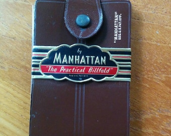 """Vintage Brown Leather Wallet """"The Practical Billfold"""" by Manhattan"""