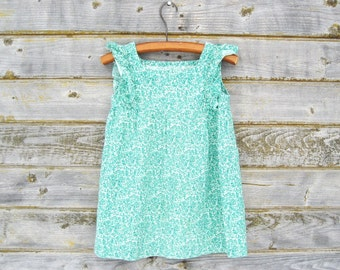 Child's Dress Size 4T Cotton Dress, Vintage Green Floral Toddler, Baby Girl Summer Dress, Soviet Estonia 1970s