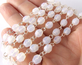 Rosary Chain - Milky White Opal Czech Glass Beaded Chain - 4mm or 6mm Bead Links - Opaline Chandelier Chain - Choose Your Finish - 1ft