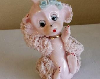 Spaghetti Poodle Figure Pink Gold Accents Spaghetti Monkey  1960's