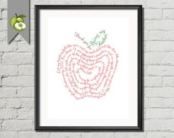 Teacher Appreciation gift teacher quotes-Thank you -Teacher Apple -printable- digital instant download -apple -word cloud