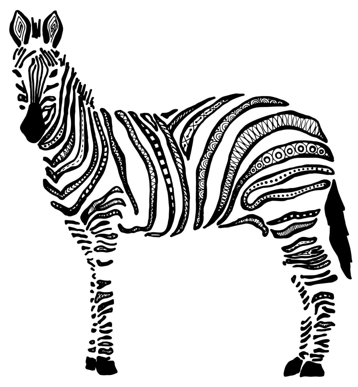 Зебра картинка контур