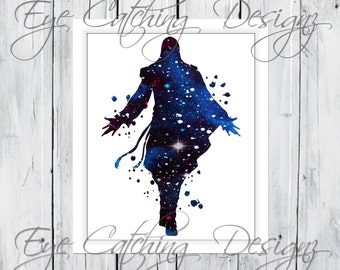 Assassin S Creed Video Game Xbox 360 Ps4 Watercolor Painting Fine Art Print Poster Giclee Custom