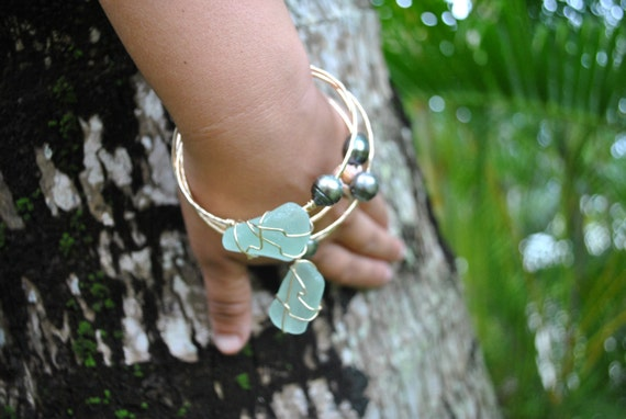 Sea Glass Wrapped Bangle
