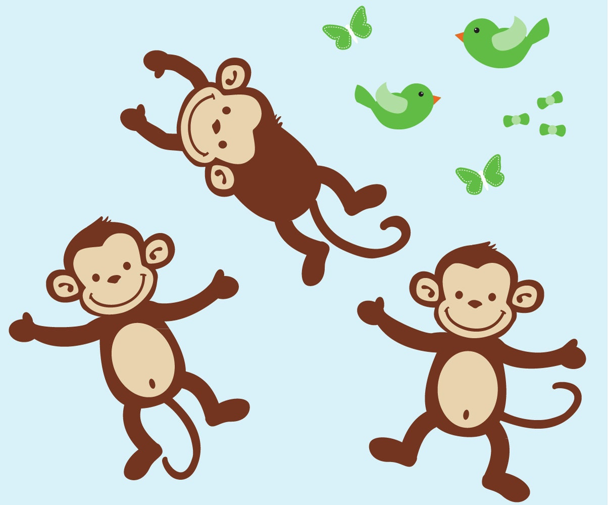 monkey wall decals repositionable monkey stickers nursery. Black Bedroom Furniture Sets. Home Design Ideas