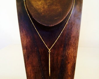 Gold Pave Diamond Dagger Necklace