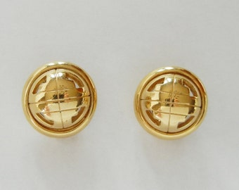 Givenchy Monogram Round Clip on Earrings, Signed, Paris New York, Vintage 80s