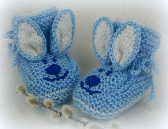 Crochet Bunny Baby Booties Pattern : Blue Knit Baby Booties Bunny Crochet Baby Boys Booties Baby
