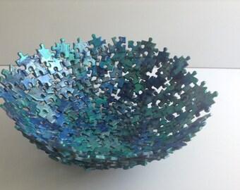 Metallic Blue Jigsaw Puzzle Bowl