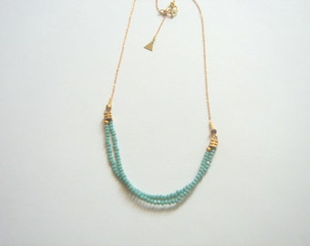 Mint Crystal Necklace, Brass Necklace,