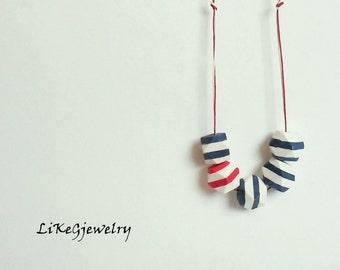 Nautical Geometric Necklace, Wood Handpainted  necklace, Sea Necklace,Geometric Jewelry