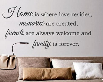 Home is where love resides, memories created...Vinyl Decal, Wall Decor, Wall Quote, Living Room Decor, Home Decor Sentimental Phrase CE7