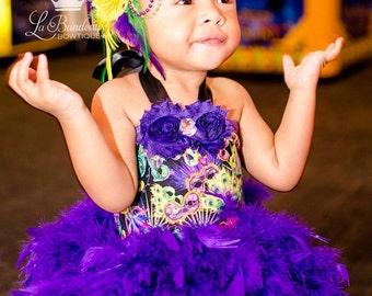 Mardi Gras Couture Feather Headband in Purple, Gold and Green, Baby Headband, Toddler Headband, Adult Heaband, Mardi Gras Headband