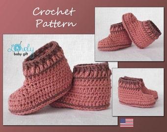 Baby Shoes Crochet Pattern,  Crochet Bootie Pattern, Instant Download, CP-204