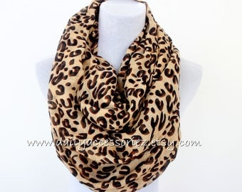 Leopard Infinity Scarf - Brown, Christmas Gift, Christmas Gifts, Gift for her, cute scarf, infinity scarf, brown