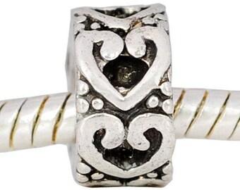 Hollow Heart, Love Bead,  European Style Bead Charm for European Bracelet,fit ALL European Charm Bracelets