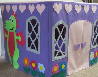 Card Table Playhouse Tent, Purple and Pink Castle Tent, Felt Play Tent, Table Tent, Castle, Girls Play Tent