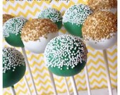 12 Gold & Green Sprinkle Cake Pops for St Patrick's Day, Luck, Irish, Notre Dame, kindergarten, college graduation, high school, glitter