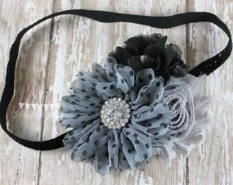 Black and Gray headband, Girls Headband, Newborn headband, Baby headband, Flower girl headband, Black Flower Hair Clip, Glitter headband