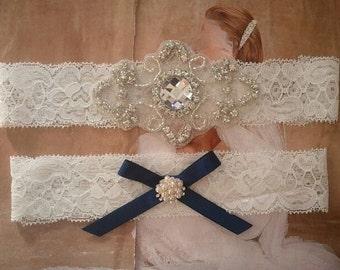 Wedding Garter, Bridal Garter, Garter - Crystal Rhinestone Garter Set - Style G206