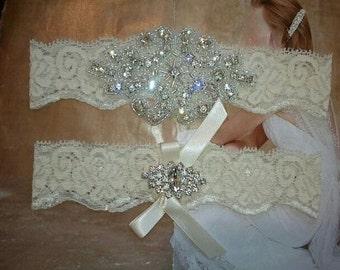 SALE -Shop Best Seller - Bridal Garter Set - Crystal Rhinestone on a Ivory Lace - Style G2047