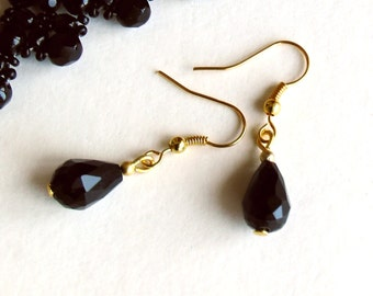 Black Earrings, Black Dangles, Black Crystal Earrings