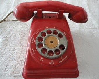 Vintage Red Toy Telephone Metal Rotary Phone The Steel Stamping Co Lorain Ohio Made In USA
