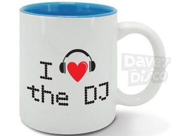 I love the DJ mug / cup, Valentines day gift, DJ, music lover, presenter, disc jockey, Christmas gift idea m0007