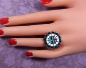 Vintage Silver and Enamel Ring -- Size Adjustable - R-372