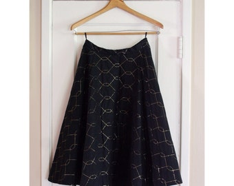 1950's Quilted Circle Skirt with Gold Stitching