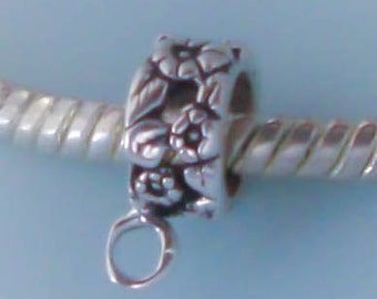 Sterling Silver Converter Dangle Bead Charm Holder European Bead with Loop,Flower Design, Bail, Made in USA