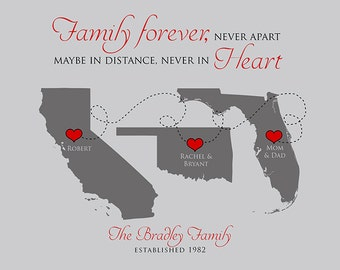 Family Gift Quote Maps, Mom and Dad, Kids, Grandparents, Thank You Gift for Parents Moving Away Going Away Personalized 3 Maps