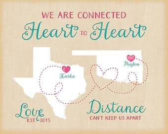 Long Distance Relationship Birthday Gift , Personalized Maps, Fiance, Boyfriend Moving Going Away Farewell Present Friends Couple