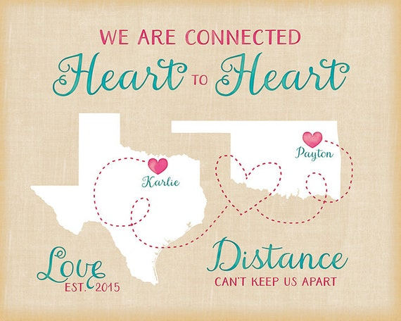 Long Distance Relationship Birthday Gift Personalized Maps