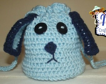 Puppy Dog Purse, Crochet Puppy Purse, Handmade Purse, Crochet Purse, Animal Purse, Fun Purse, Crochet Gift, CD Purse, Drawstring Purse