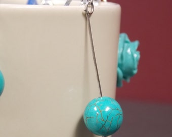Long silver stem, round bead turquoise earrings
