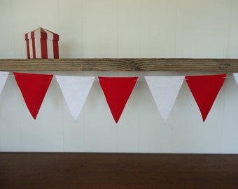 Red White Felt Bunting Banner | Circus Themed Sign Baby Shower Decor Wedding Birthday Party Decoration
