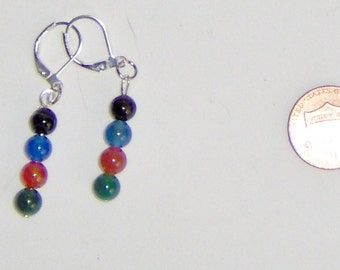 Black Red  Green and Blue Agate Earrings, Agate Pierced Earrings, Agate Dangles 1 Inch, Silver Plated Findings, Dyed Agate Beads